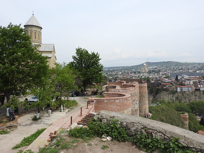 View of Tbilisi from 4th-century Narikala Fortress and restored St Nicholas Church