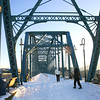 Snow covered walking bridge in Chattanooga