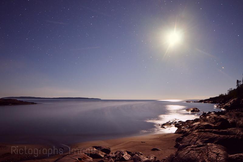 Lake Superior, Moon & Shoreline, Summer 2016