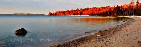 A Lake Superior, Beach Landscape, Terrace Bay, Ontario, Canada