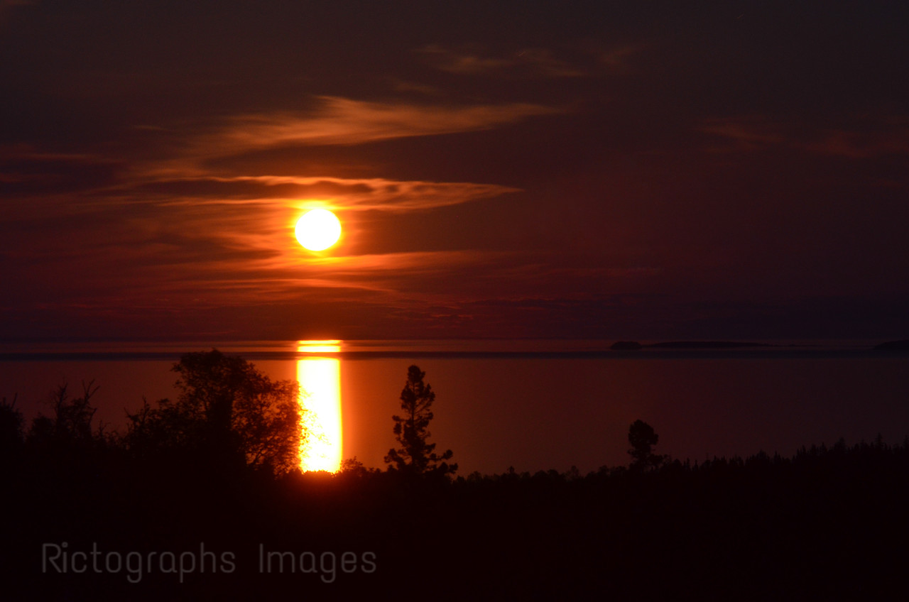 Moon Rising Over Lake Superior, Looking Out  From The Aguasabon River Scenic Lookout