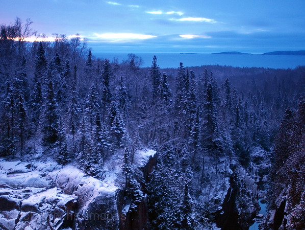 Winter View from Aguasabon River Scenic Lookout: near Terrace Bay, Ontario, Canada