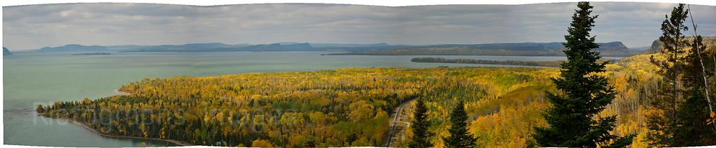 Lake Superior, Panorama Shot, Kama Bay, Scenic Lookout, Autumn 2014