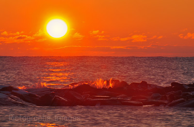 Lake Superior Sunrise, at the Mouth of the Aguasabon River, Near Terrace Bay, Ontario, Canada