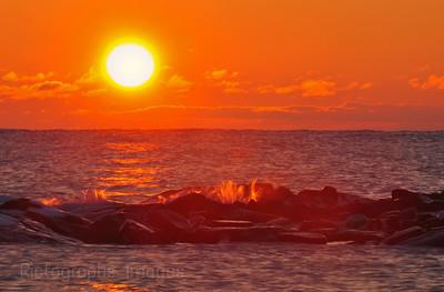 Lake Superior Sunrise, at the Mouth of the Aguasabon River, Near Terrace Bay, Ontario, Canada