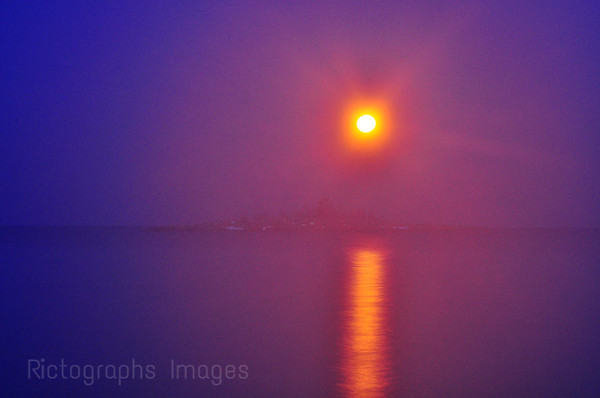 Moon Rising Over Gull Isle, Terrace Bay, Ontario, Canada