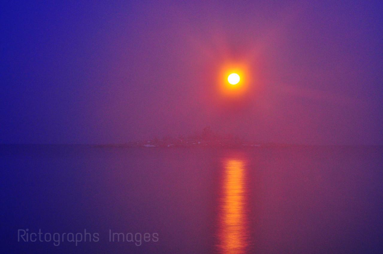 Moon Rising Over Gull Isle, Terrace Bay, Ontario, Canada