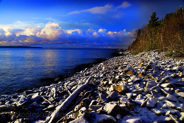 Lake Superior Shore, Late Autumn Snow