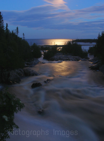 Shot From Lou's Landing Along the Casques Iles Trail North Of Lake Superior  The Aguasabon River Mouth Waters and Waves Sculpting the North Shore of Lake Superior