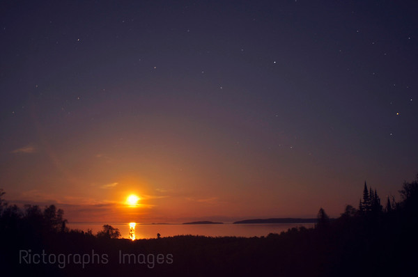 Aguasabon River Scenic Lookout, Terrace Bay, Ontario, Canada Moon Rising Over Lake Superior