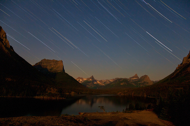 Star Trails and Moonlight.  St. Mary Lake, Glacier National Park