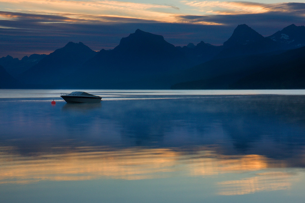 Boat on Lake MacDonald, Early Morning I
