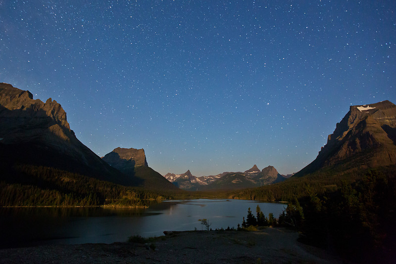 Moonlit St. Mary Lake, Glacier National Park