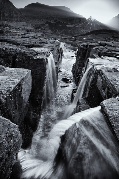Triple Falls (BW), Glacier National Park
