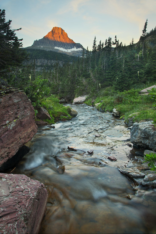 Lunch Creek with Sunrise on Mount Reynolds #2, Glacier National Park