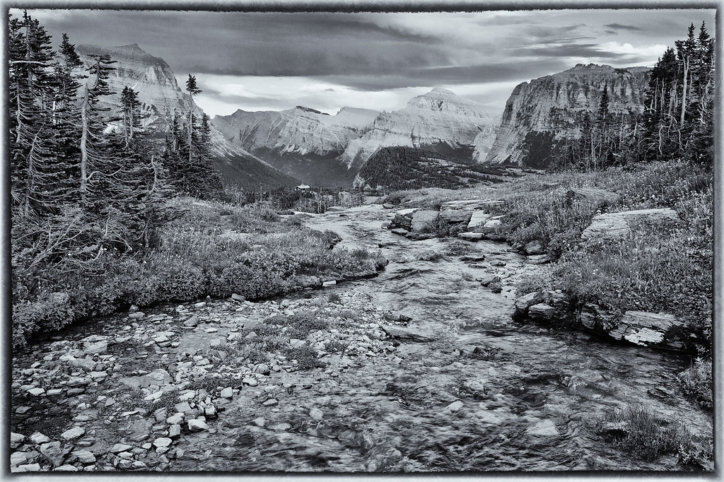 Oberlin Creek (BW), Glacier National Park