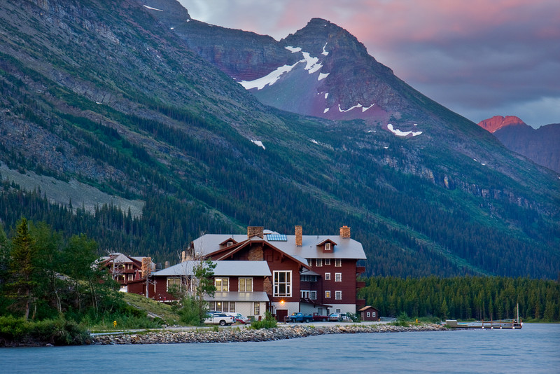 The Many Glacier Lodge at Sunrise