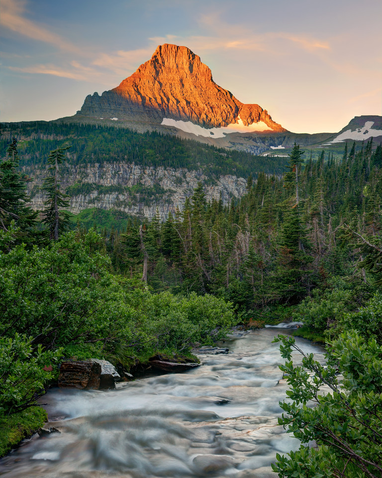 Lunch Creek with Sunrise on Mount Reynolds, Glacier National Park