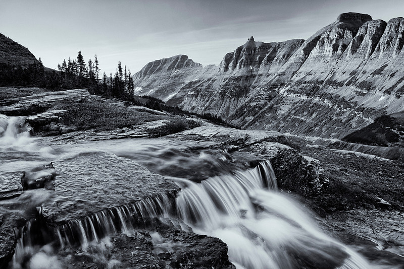 Oberlin Creek and the Garden Wall (BW), Glacier National Park