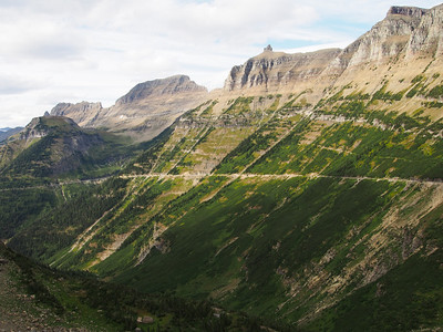 View of Going-to-the-sun road from Logan Pass, Glacier NP