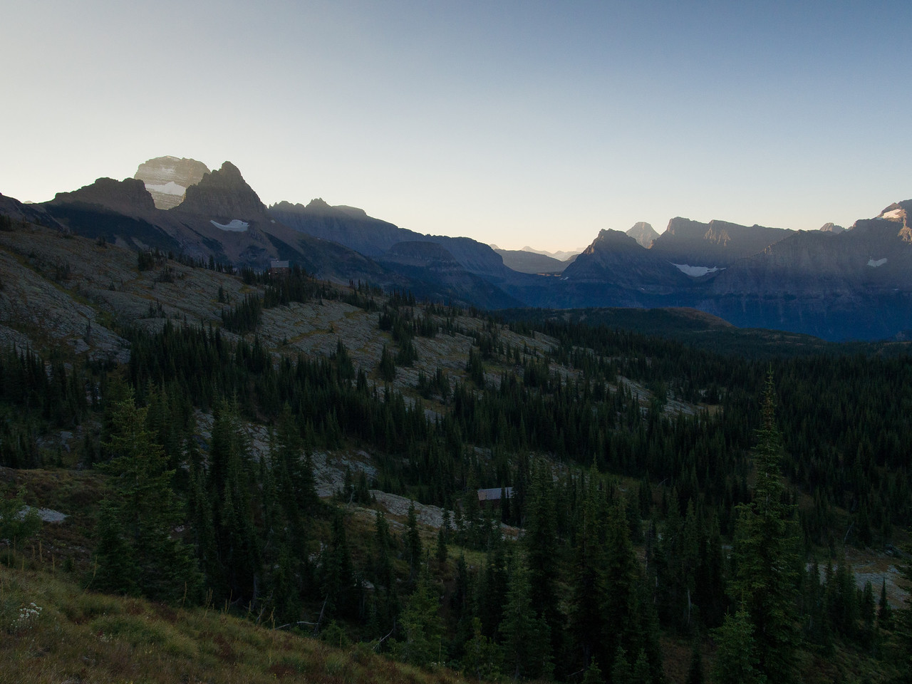 Day 5/5 - First light over Garden Wall during Swiftcurrent pass hike, Glacier NP
