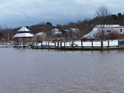 The wharf and gazebo at Wolfville, Jan. 31, 2014, 16.2 m tide.