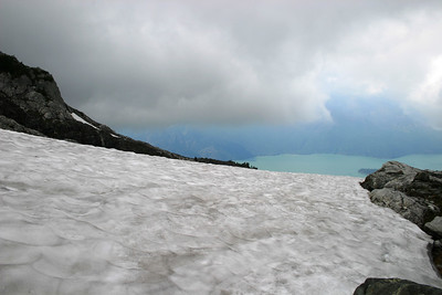 This is the permanent ice field... VERY DANGEROUS...and slippery....and a near 2,000ft drop... I was very scared