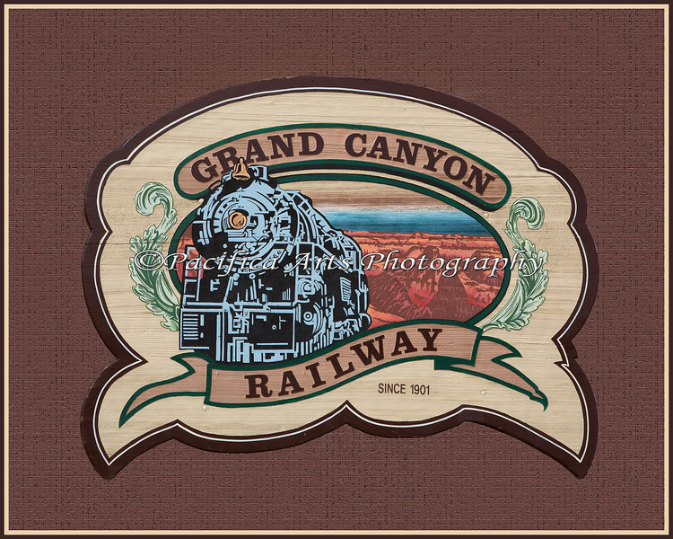 I loved this Grand Canyon Railway sign by the Williams Depot, but there were so many distractions behind it, so I cut it out and put it on a plain background.
