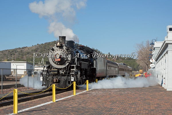 Grand Canyon Railway, Locomotive #4960, letting off some steam.  She is a 2-8-2, located at Williams Depot, Williams, AZ.
