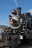 A front view.  Grand Canyon Railway, Locomotive #4960, She is a 2-8-2, located at Williams Depot, Williams, AZ.