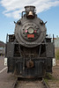 Front view of Locomotive #29, sitting on a side track at the Grand Canyon Railway, Williams Depot, Williams, AZ