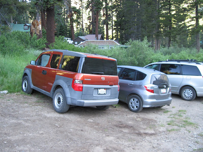 My Element parked at the trailhead near where the old Mineral King Store used to be.