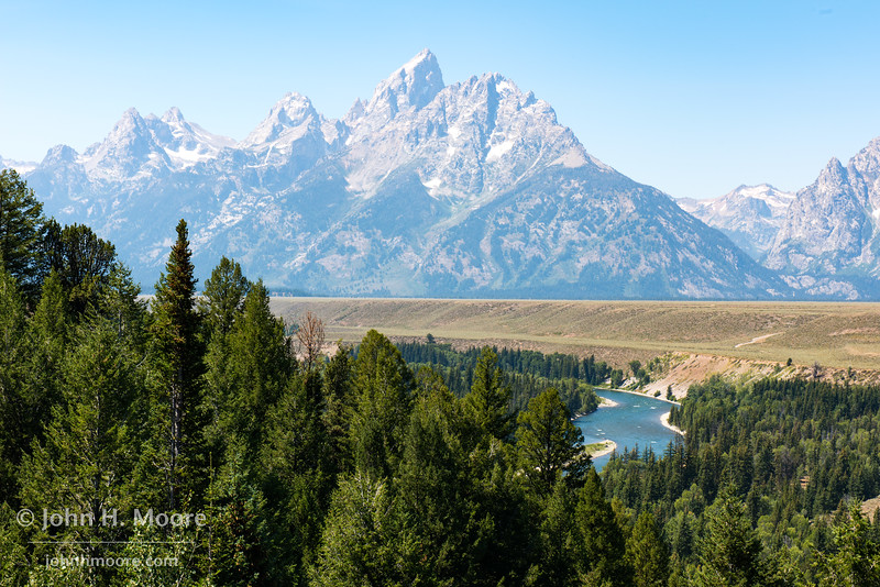 The Teton Mountains as seen from the Snake River Overlook in Grand Teton National Park, Wyoming.