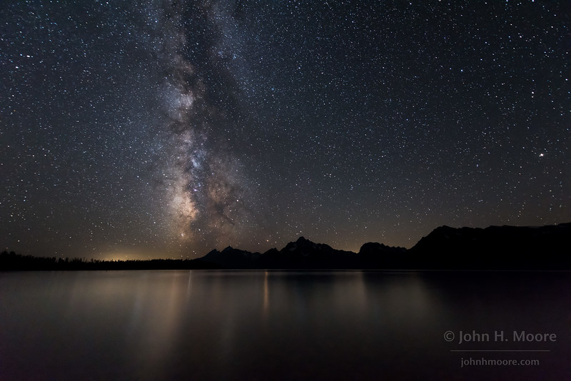 The Milky Way over Jackson Lake in Grand Teton National Park, Wyoming