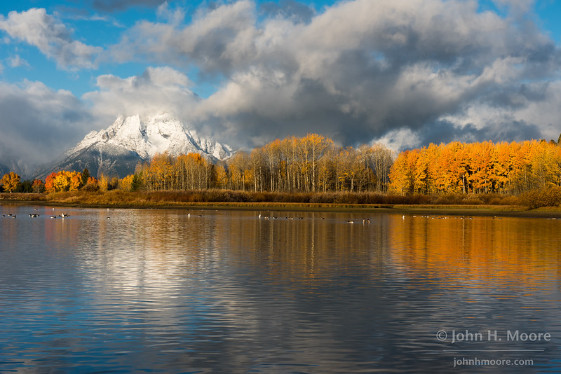 Mount Moran in Grand Teton National Park after the first snowfall of the season.  Wyoming, USA