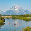 Kayakers at Oxbow Bend in the Snake River in Grand Teton National Park, Wyoming.