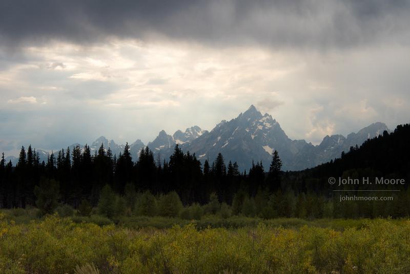 Clearing storm over the Teton mountain range, Wyoming.
