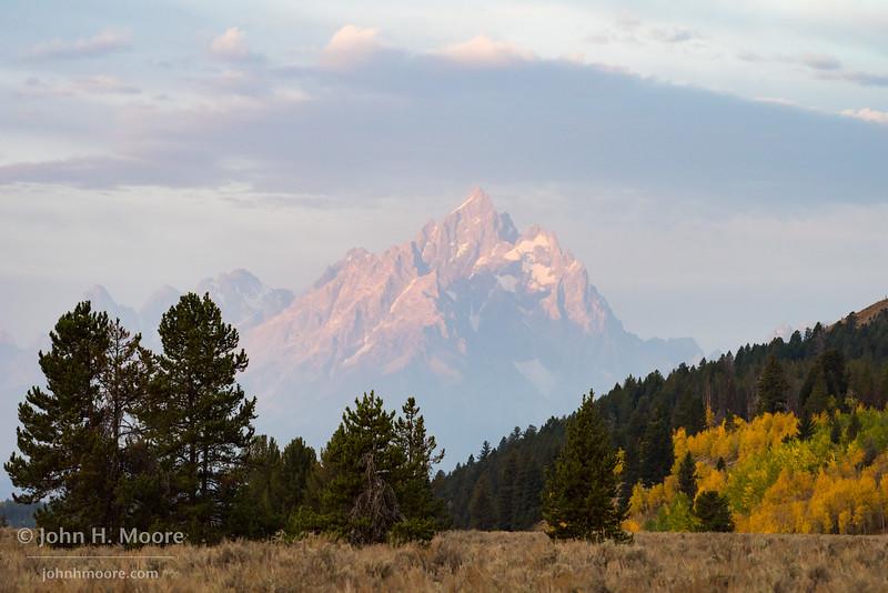First light on Grand Teton Mountain in Wyoming.