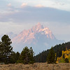 First light on Grand Teton Mountain in Wyoming.