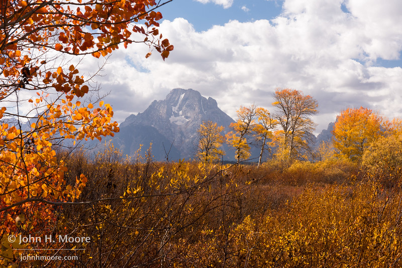 Mount Moran in fall.  Grand Teton National Park, Wyoming, USA