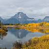 Mount Moran in Grand Teton National Park, as seen from Oxbow Bend, during fall color.