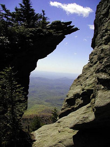 Attic Window. Looking through it and down at the Blue Ridge Parkway area from high atop  the Grandfather Mountain Trail.