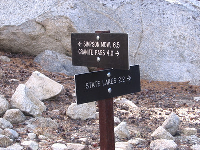 Trail junction; I took the route east towards State Lakes.