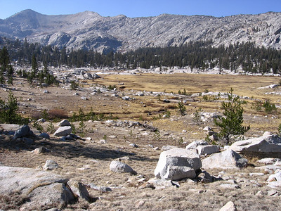 Granite Basin at about 10,000 feet altitude. The sub-freezing fall nights have turned the meadows brown.