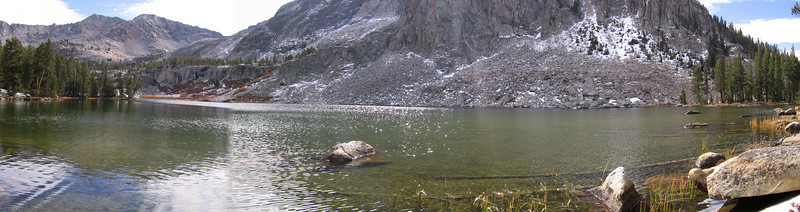 Panorama of the largest of the State Lakes. Several nice-looking campsites near here. Notice small dusting of early-season snow on the north-facing slope across the lake.