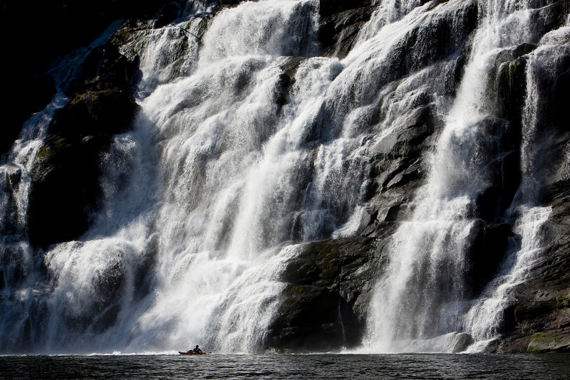 Waterfall and kayak