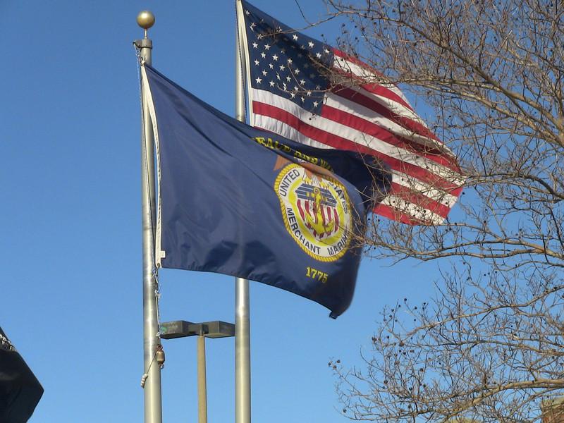 Merchant Marine flag flying at MEBA hall, Norfolk, VA