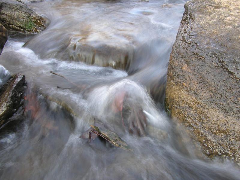 3 closeup shots of little waterfall. Long exposure, no flash