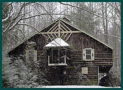 Gingerbread Cabin at Elkmont in a snowstorm GSMNP TN