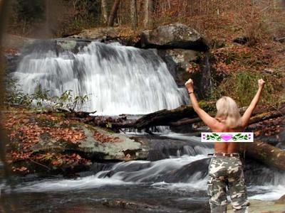 Victory Cheers in front of Hazel Creek Cascade. My LAST Smoky Mtn. Guidebook waterfall! I had finished them all!